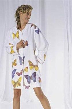 Однотонный махровый с воротником кимоно на пуговицах, короткий