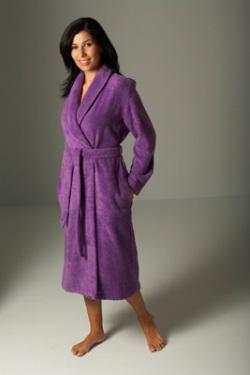 Однотонный махровый с воротником шалькой, фиолетовый